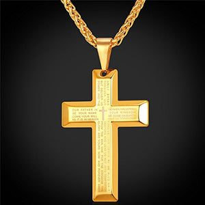 SHIP BY USPS  Jewelry Men's Stainless Steel Simple Black Cross Pendant Lord's Prayer Necklace 22 Inch