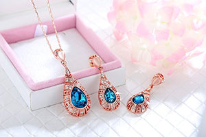 SHIP BY USPS: Kemstone Vintage Blue Rhinestone Necklace Earrings Rose Gold Color Jewelry Sets for Women Brides,17.5""