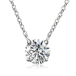 SHIP BY USPS: Sterling Silver Birthstone Pendant Necklace, Swarovski Element AAA Cubic Zirconia Jewelry for Women Girls