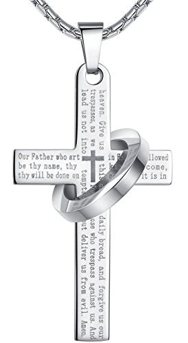 "SHIP BY USPS: Men's Stainless Steel Lord's Prayer Cross Halo Pendant Necklace, SilverTone, 23"" Chain, ddp010yi"