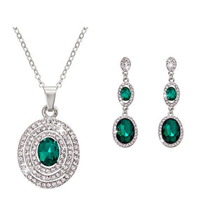 SHIP BY USPS: Omnichic Fashion Oval Emerald Pave Rhinestone Wedding Jewelry Necklace and Earrings Set for Women