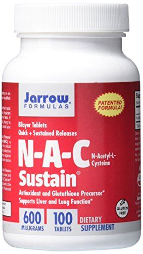 SHIP BY USPS Jarrow Formulas N-A-C Sustain, Supports Liver and Lung Function, 600 mg, 100 Sustain tabs