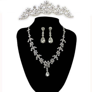 SHIP BY USPS: Hot Sale Noble Crystal Bridal Jewelry Sets Hotsale Silver Fashion Wedding Jewelry