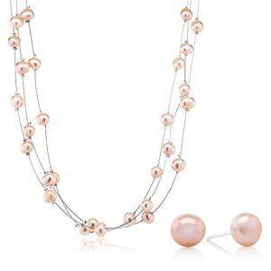 SHIP BY USPS: 3-Row 7-8mm Pink Cultured Freshwater Pearl Necklace Earrings Set 18""
