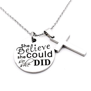 SHIP BY USPS N.egret Necklace Chain Cross Pendant Inspirational Jewelry Quotes Gift for Girl Teen Daughter men Birthday