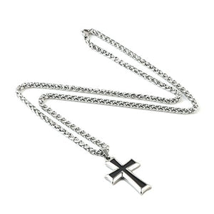 SHIP BY USPS: HZMAN Mens Stainless Steel Cross Pendant Necklace Flower Basket Chain