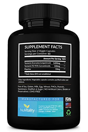 SHIP BY USPS: Turmeric Curcumin with Piperine (Black Pepper Extract) - 120 Veggie Capsules - Premium Quality with 95%...