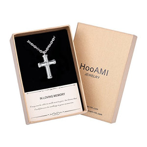 SHIP BY USPS HooAMI Cremation Jewelry Hawser Cross Pendant Memorial Urn Necklace