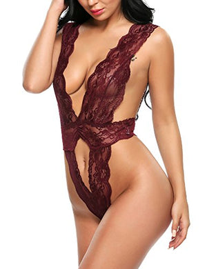 Women Sexy Lingeries One Piece Babydoll Hollow Out Deep V Neck Lace Outfits