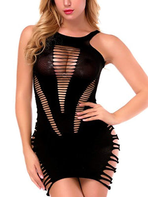 Sexy Lingerie for Women Fishnet Halter Chemise Deep V Hot Mesh Mini Dress Bodysuit