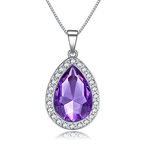 SHIP BY USPS:  Amulet Teardrop Amethyst Necklace Fashion Jewelry Gift for Girls