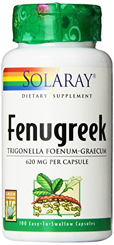 SHIP BY USPS: Solaray Fenugreek Seeds Capsules, 620 mg, 100 Count