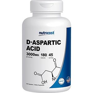 SHIP BY USPS Nutricost D-Aspartic Acid Capsules (180 Capsules) (3000mg Serving)