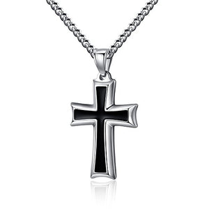 "SHIP BY USPS: Reve Stainless Steel Black & Silver Cross Pendant Necklace for Men Women, 20-24"" Curb Chain"