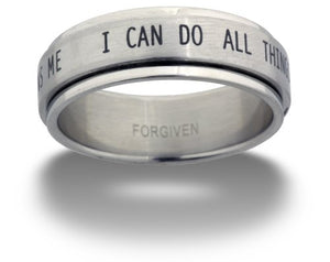 SHIP BY USPS: Phil 4:13 I Can Do All Things through Christ Spinner Ring