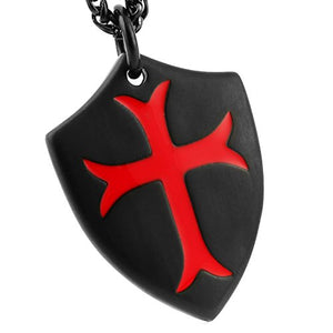 Knights Templar Cross Joshua 1:9 Shield Stainless Steel Pendant Necklace with 24 inch Chain