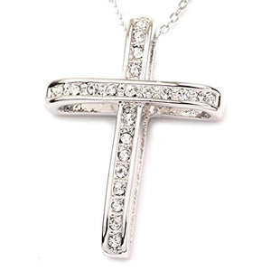 SHIP BY USPS FC JORY White & Rose Gold Plated Rhinestone Cross Cubic Zirconia Pendant Necklace