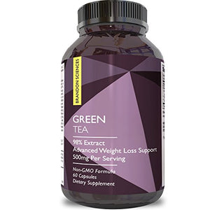 Best Pure Green Tea Extract Capsules - 500 mg Fat Burner Pills with EGCG Catechins - Weight Loss -...