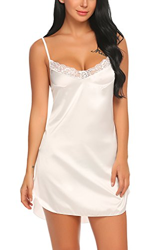 c37fcaa6f855 ... Women s Stain Nightgown Sexy Lingerie Lace Chemises Slip Sleepwear ...