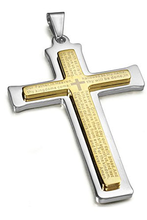 SHIP BY USPS: Stainless Steel Mens English Lord's Prayer Cross Pendant Necklace,Chain 24''