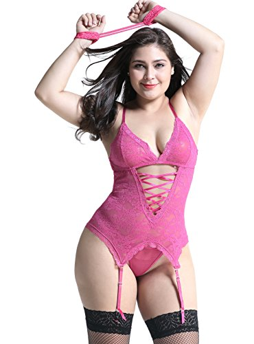 c1afdae960 Plus Size Lingerie Sets Stretchy Lace Women Lingerie Chemise Nightwear with  Hand-cuff