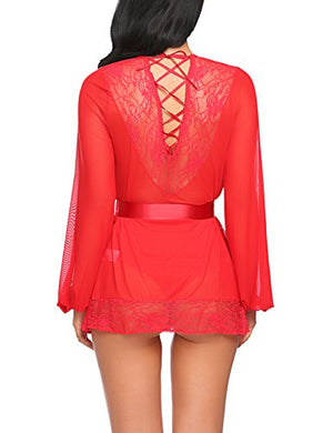 Women Lingerie Lace Kimono Robe Babydoll Sheer Lace Up Nightgown With Belted