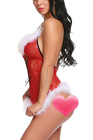 Womens Christmas Lingerie Red Babydolls Santa dress Lace Chemise
