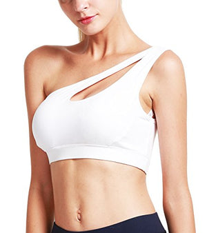 RUNNING GIRL One Shoulder Sports Bra Workout Yoga Bra Sexy Cute Medium Support