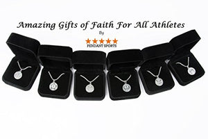 Athletes Cross Necklace by Pendant Sports. Presented in Black Velvet Gift Box. With an Inspiring Luke 1:37 Bible Verse on Back. Available in Baseball, Basketball, Football, Hockey and Soccer.
