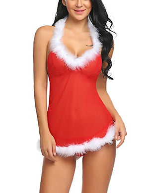 Women Babydoll Halter Lingerie Red Christmas Chemises Set