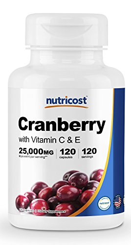 [2 Bottles] Nutricost Cranberry Extract (25,000mg) (120 Capsules Each) With Vitamin C & Vitamin E