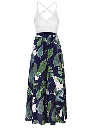 Women's Deep V Neck Sleeveless Summer Asymmetrical Floral Maxi Dress