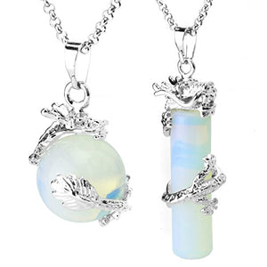 SHIP BY USPS: BEADNOVA 2pcs Dragon Wrapped Round Ball Cylinder Gemstone Necklace Crystal Healing Couple Pendant Necklaces Set