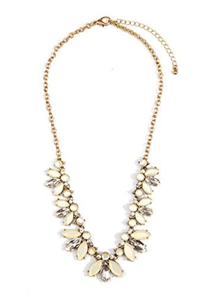 Happiness Boutique Statement Necklace Pastel Colors | Flower Floral Necklace Nude Gems in Neutral Colors Nickel Free