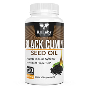 SHIP BY USPS: RxLabs Black Seed Oil Veggie 500mg 120 Capsules | Virgin Cold Pressed Unrefined Cumin Seed Oil Nigella...