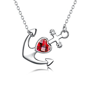 Heart Jewelry Gift for Women 925 Sterling Silver Polished Sideways Ship Anchor Pendant Necklace,18""