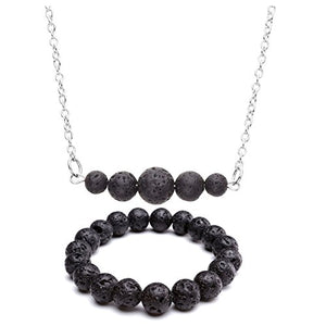 SHIP BY USPS: Top Plaza Women Aromatherapy Fashion Casual Black Lava Rock Stone Essential Oil Diffuser Natural Gemstone Pendant Necklace Bracelet Set