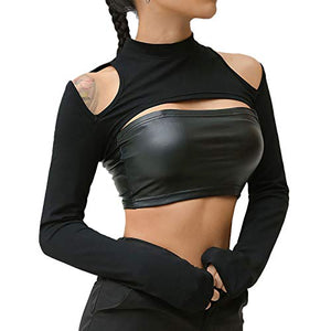 Velius Womens Sexy Mesh Fishnet Hollow Out Long Sleeve Crop Top Hooded Shirts