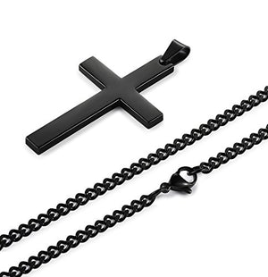 SHIP BY USPS Jstyle Stainless Steel Chain Black Cross Necklace for Men Women, 22-24 Inch