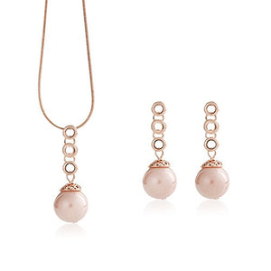 Women 18K Rose Gold Plated Jewelry Set Teardrop Necklace Earrings Set Wedding by Pokich