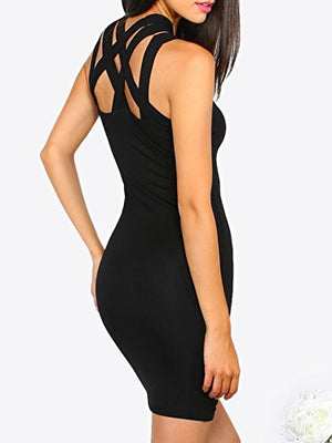 Chic Women's Sexy Cut Out Sleeveless Bodycon Cocktail Party Dress