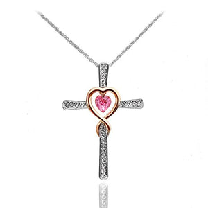 SHIP BY USPS Xingzou Infinity Love of God Women Heart Crystals Cross Pendant Necklace Made with Swarovski Elements