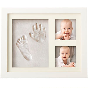 Bubzi Co Baby Handprint Kit & Footprint Photo Frame for Newborn Girls and Boys, Baby Photo Album For...