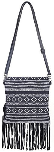 Anleowatch 1PCS Strip National Style Women Shoulder Bag Fringe Bohemian Tassel Cross Body Bags