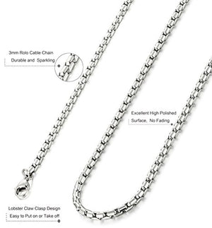 SHIP BY USPS: ORAZIO 3MM Stainless Steel Chain Cross Necklace for Men Women Bible Lord's Prayer Pendant 22-30 Inches