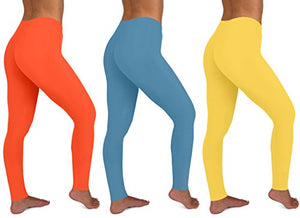 Womens 3 Pack Active Yoga Workout Cotton Stretch Fashion Long Leggings