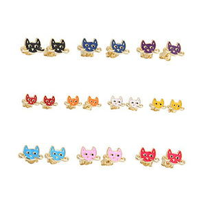 10 Pairs 18K Gold Plated Post Stud Earrings Set for Kids girls Gold Tone Mix