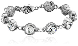 SHIP BY USPS: 1928 Jewelry Silver-Tone Clear Crystal Adjustable Tennis Bracelet