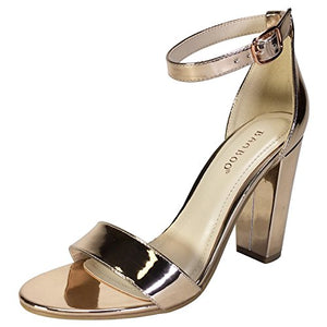 Bamboo Women's Single Band Chunky Heel Sandal With Ankle Strap