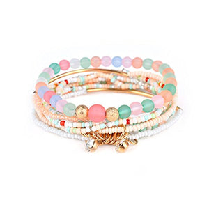 SHIP BY USPS: Multilayer Bohemian Beaded Bracelet Crystal Pendant Charm Stretch Beach Bangle Bracelet Set Jewelry 7 Colors for Women